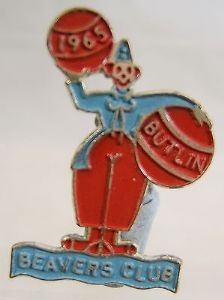 Butlins Holiday Beaver Club Enamel Pin Badge - Blue & Red - 1965